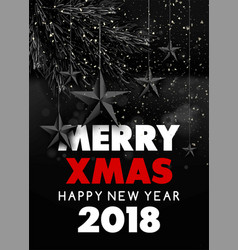 merry xmas happy new year 2018 greeting vector image