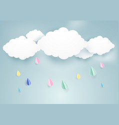 rainy fall and clouds background paper art style vector image vector image