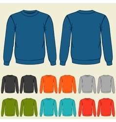 Set of colored sweatshirts templates for men vector image