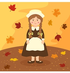 Thanksgiving Braid Girl Cartoon vector image