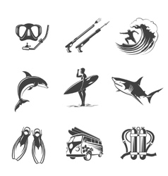 Beach icons black set Summer vacation and vector image vector image