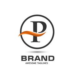 corporate letter p swoosh logo vector image