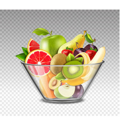 realistic fruits in glass bowl vector image