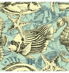 Sea pattern marine life exotic fish background vector image vector image