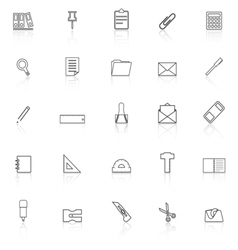 Stationery line icons with reflect on white vector image
