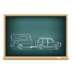 camp car drawn on blackboard vector image vector image