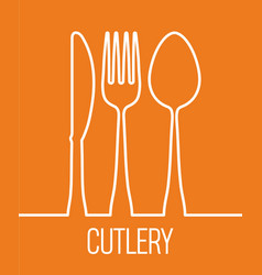 fork spoon knife cutlery symbol design vector image