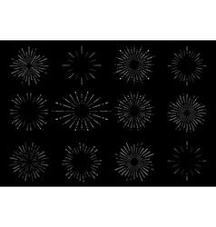 Hand drawn sunburst vintage set on dark background vector image