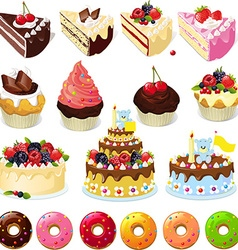 Set of sweets and cakes - vector image vector image