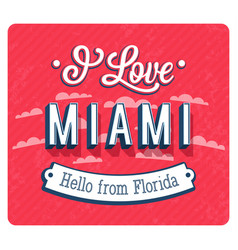 Vintage greeting card from miami vector