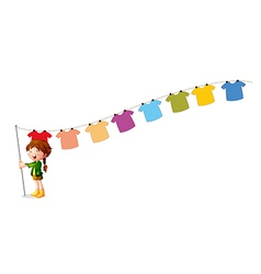 A girl holding a stick with hanging clothes vector image vector image