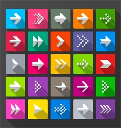 Arrows icons signs long shadow style vector image