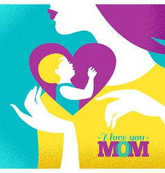 Beautiful silhouette of mother and baby in heart vector image vector image