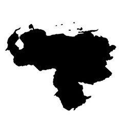 black silhouette country borders map of venezuela vector image vector image