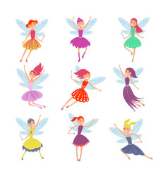 flying fairy girls with angle wings vector image vector image