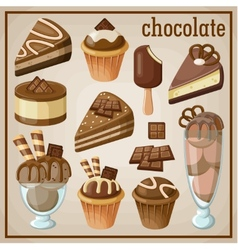 Set of sweets and chocolate vector image vector image