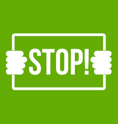 stop icon green vector image
