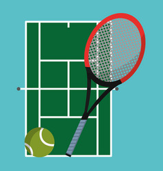 tennis court with racket and ball objects vector image