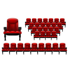 A set of theater seats separately red chair and vector