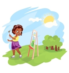 African american girl painting outdoors vector