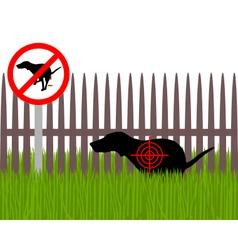 Aim at dog crapping vector