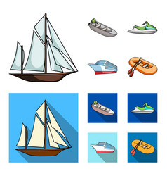 ancient sailboat motor boat scooter marine vector image