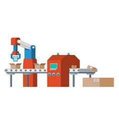 Assembly line automated conveyor system vector
