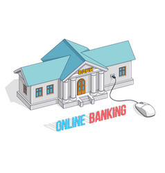 bank building with computer mouse connected vector image
