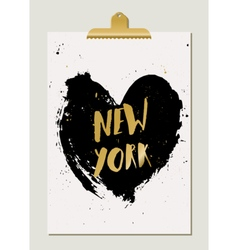 Black Heart New York Poster vector image