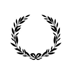 Black silhouette greek laurel wreath with bow vector