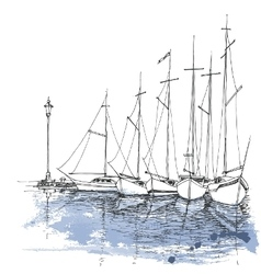 Boats on water harbor sketch transportation vector