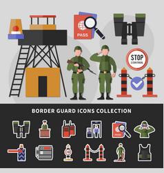 Border guard icons collection vector