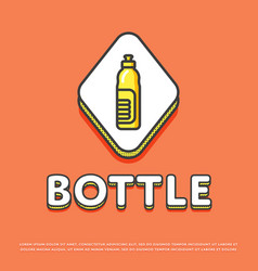 bottle colour icon in line design vector image