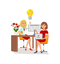 Brainstorming coworkers cooperation vector