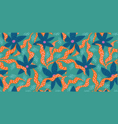 bright funny seamless pattern with abstract leaves vector image