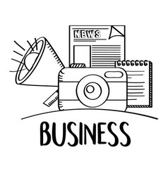 business phoro camera speaker news doodle vector image