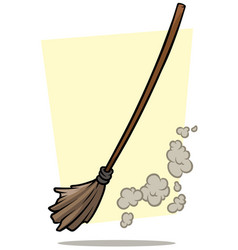Cartoon broom cleaner and dust icon vector