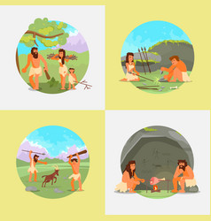 Cavemen stone age people flat vector