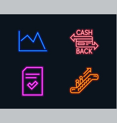 Checked file cashback card and line chart icons vector