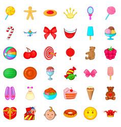 Children birthday icons set cartoon style vector