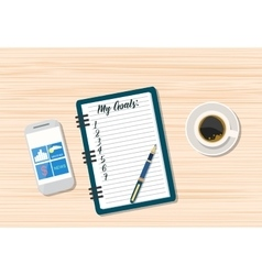 Coffee and blank memo with smartphone vector image