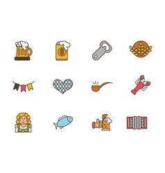 collection oktoberfest icons line filled vector image