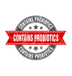 Contains probiotics round stamp with red ribbon vector