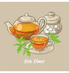cup of tea teapot and sugar bowl vector image