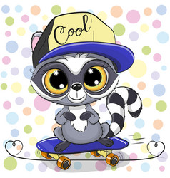 cute cartoon raccoon with a skateboard vector image
