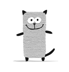Cute knitting cat sketch for your design vector