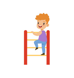 cute little boy climbing up ladder kid having fun vector image
