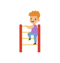 Cute little boy climbing up ladder kid having fun vector