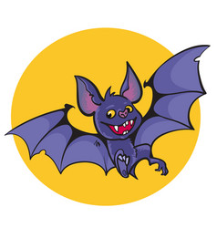 cute vampire bat on full moon background vector image