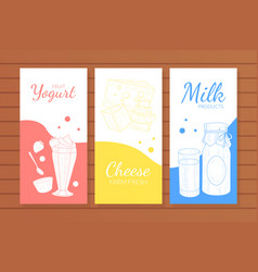 dairy products banners templates set yogurt milk vector image